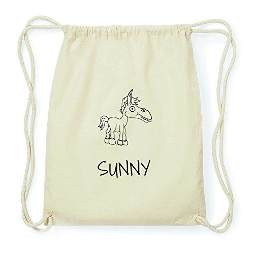 JOllipets SUNNY Hipster Turnbeutel Tasche Rucksack aus Baumwolle – Design: Pferd - Farbe: natur