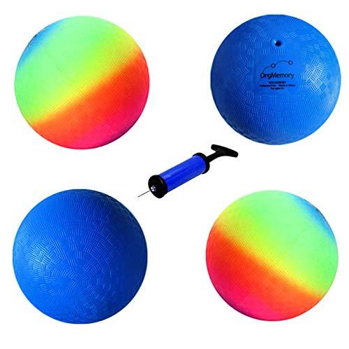 OrgMemory Playground Ball, Kickball (22cm, 4 Pack, 2 Rainbow und 2 Blau Ball), Handball für Kinder und Erwachsene, Dodge Ball mit Pumpe