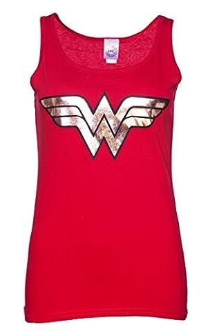 Womens Red Wonder Woman Gold Logo Tank Vest