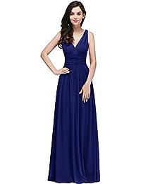 MisShow® Damen Elegant A-Linie V-Ausschnitt Chiffon Abendkleid Ballkleid Brautjungfernkleid Maxilang 32-46