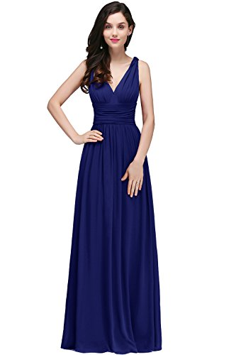 Damen Elegant Chffion Kleid Brautmutter Kleid Maxi Festkleid lang Royal Blau 42