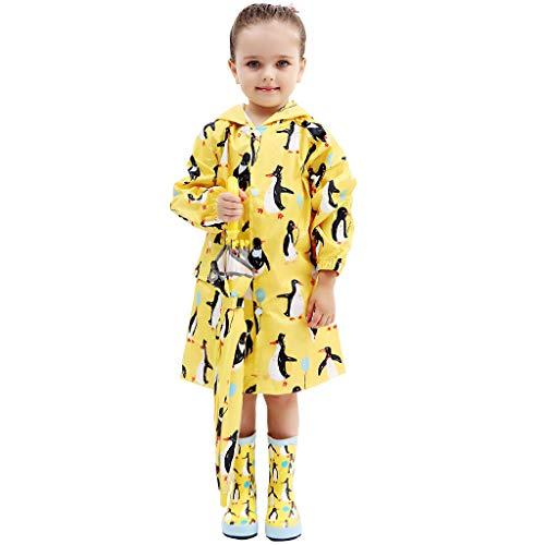 Kinder Wasserdichte Regenjacke Mädchen Jungen mit Kapuze Regenmantel Jacke Kinder Leichte Outdoorjacke Niedlicher Regenponcho Gelb Pinguin L (Kleinkind Regen Stiefel Größe 6 Jungen)