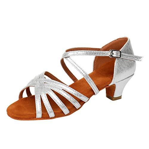Ferse Wildleder Schaffell-leder (iLPM5 Damen Mode Elegant Einfarbig Schnalle Niedriger Absatz Quadratische Ferse Tanzschuhe Tango Latin Schuhe Sandalen(Silber,36))