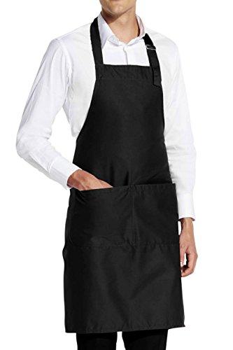 Premium Grillschürze für BBQ und Grillparty / Kochschürze für Gastronomie / Baumwolle & Polyester / Ideales Sommer Geschenk / One Size / Herren & Damen / verstellbarem Nackenband (Black (Kostüm Fett Passt)