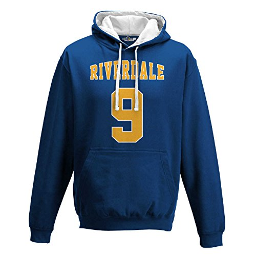 KiarenzaFD Bico Riverdale Hoodie Archie Andrews Football 9  Film 1 Men  XKFBA01827 L  Royal Blue-Arctic White  Large
