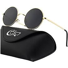 CGID E01 Estilo Vintage Retro Lennon inspirado círculo metálico redondo gafas de sol polarizadas para hombres