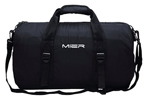 MIER 40L Foldable Barrel Gym Bag Sports Holdall Duffel Bag for Women, Ladies and Men, Water Resistant Nylon (Black)