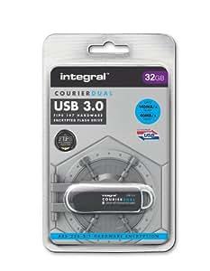 Integral Europe Courier Dual FIPS 197 Encrypted Clé USB 32 Go USB 3.0 Noir