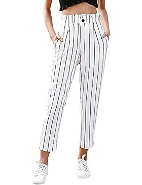 DOGZI Mujer Pantalones Tallas Grandes Bolsillos Raya Botón Pantalones Casuales Pantalones Rectos Casual Deporte...