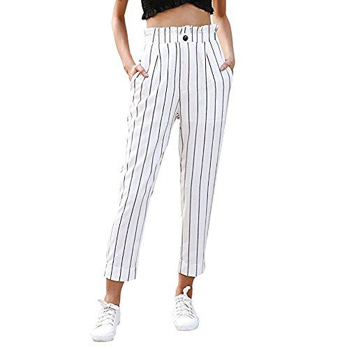 UFACE Damen gestreiften Knopf Casual Hosen gerade Beinhosen Leg Lässige Hose mit Taschen (L/(40), Weiß) - Oversize-rechner