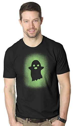 Crazy Dog Tshirts Glowing Ghost Glow in The Dark Shirt Scary Halloween T Shirt Cool Costume Tee (Black) 5XL - Herren - - Witze Halloween Nerdy