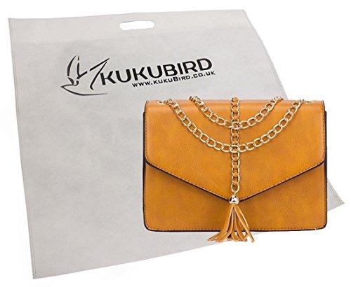 Kukubird Lucy Catena Nappa Design Borsa A Tracolla Con Sacchetto Raccoglipolvere Kukubird Black