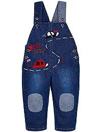 Pantalones Vaquero De Peto Para Bebé Niños Niñas Azul Espesar Largo Lindo Con Avanzar Coche Overall