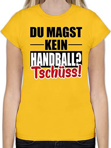 Handball WM 2019 - Du magst kein Handball? Tschüss! - L - Gelb - L191 - Tailliertes Tshirt für Damen und Frauen T-Shirt