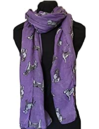 Purple with grey beagles dogs scarf fashion long soft wrap/sarong