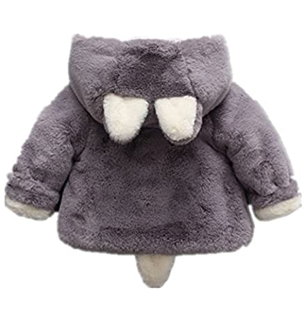 Yancorp Baby Winter Coats Kids Jackets Hoodies Fleece Cotton Wool Inside with Ears and Cute Tails (3-4 Years, Grey)