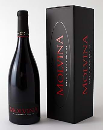 MOLVINA Luxury Fine Red Wine | Satin-smooth, red berry | Ronchi di Brescia Rosso Premium Vintage GOLD 2012 | From an Italian boutique vineyard, oak barrel aged 60 mns | 1 x 75 cl bottle elegant box