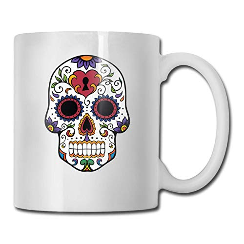 DHIHAS Strong Stability Durable Kaffeebecher Colorful Skull Mug Funny Ceramic Cup for Coffee and Tea with Handle, White -