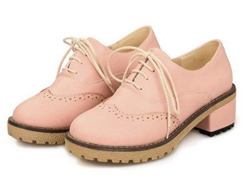 AgooLar Damen Rein Weiches Material Mittler Absatz Schnüren Rund Zehe Pumps Schuhe Pink