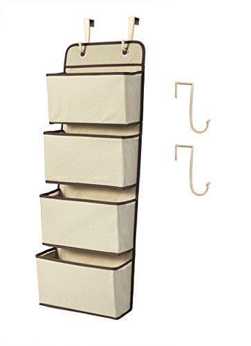 Hängender Wandschrank-Organisator, 4-Pocket-Stoff-hängender Tür-Speicher für Spielwaren, Geldbeutel und Tücher (Beige)