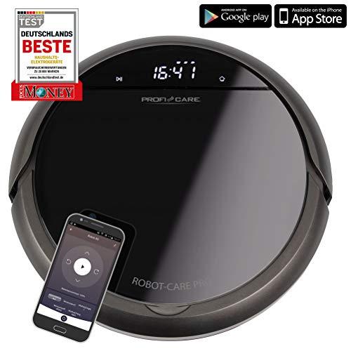 ProfiCare PC-BSR 3043, Selbstaufladender Staubsaugroboter mit WiFi-App und Fernbedienung, Starke Saugleistung, HEPA Filter, ca. 120 min. Akkulaufzeit, VOICE CONTROL via AMAZON ALEXA & GOOGLE ASSISTANT