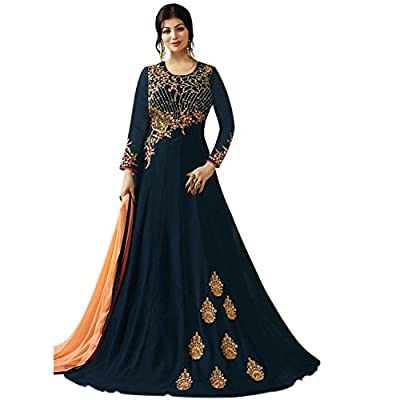 Generic Women's Georgette Semi Stitch Salwar Suit (Ethnic_ER10799_Navy Blue_Free Size)