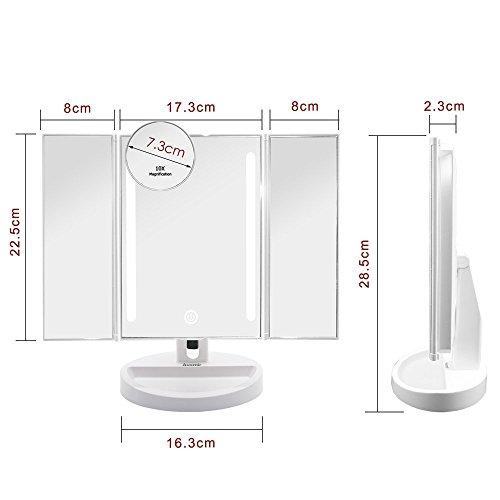 Auxmir Kosmetikspiegel Mit LED Licht Und Touchscreen Aus Kristallglass Und  ABS Kunststoff, Schminkspiegel Beleuchtet Mit Blendfreier ...
