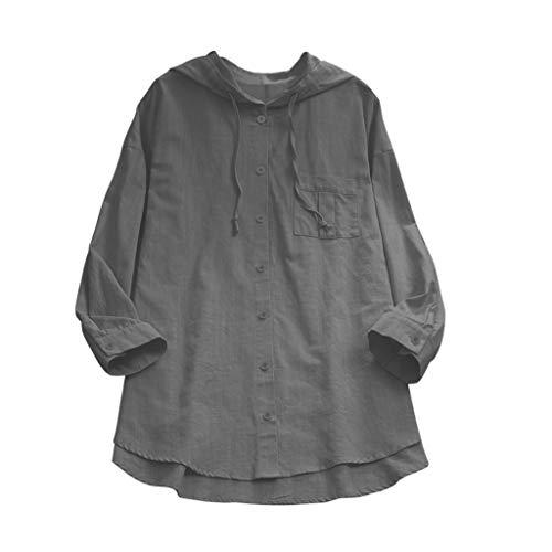 Overdose Frauen Casual Lose Rundhals Button-down Einfarbig Leinen Langarmshirt Blusen mit Kapuze Damen Hemden Oberteile Tunika Tops T-Shirt ()