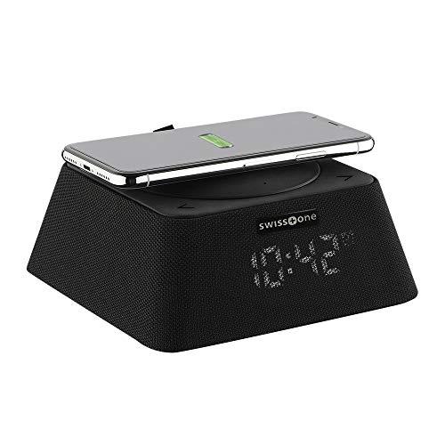 swisstone Q-BOX Bluetooth-Lautsprecher (Uhrenradio mit QI-Ladegerät (bis zu 10 Watt), FM Radio (10 Watt RMS Musikleistung), Powerbank-Funktion (3.000mAh)) schwarz