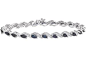 Naava Women's Diamond and Sapphire Bracelet, 9 ct White Gold with Prong Setting 0.05 ct Diamond Weight, Model PBC2520