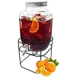 Hogar y Mas Dispensador de Bebidas, Tarro de Cristal con Grifo y Soporte. -4 litros- Diseño Original/Práctico 15 x 17.5 x 25.3 cm
