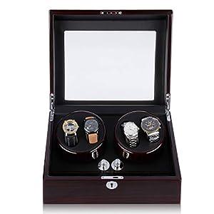 CRITIRON Automatischer Uhrenbeweger 10 Uhren Uhrenbox für Automatikuhren Uhrendreher aus Holz mit Schloss 4+6 Braun