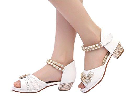 Brinny Mädchensandalen Perle Strass Peep-toe Ballet Schuhe Prinzessin Absatz-sandalen Pumps für Hochzeit Festlich Fest Geburtstag Bankett Abend Party Weiß
