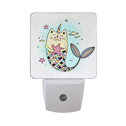 DFISKK Nachtlicht Set of 2 Cute Cat Mermaid with Unicorn Horn Fish Scales Starfish Bubble Blue Water Auto Sensor LED Dusk to Dawn Night Light Plug in Indoor for Adults -