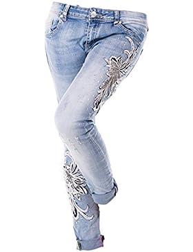 jeans donna mozzaar chiaro elasticizzato grandi inserti ricamati paillettes