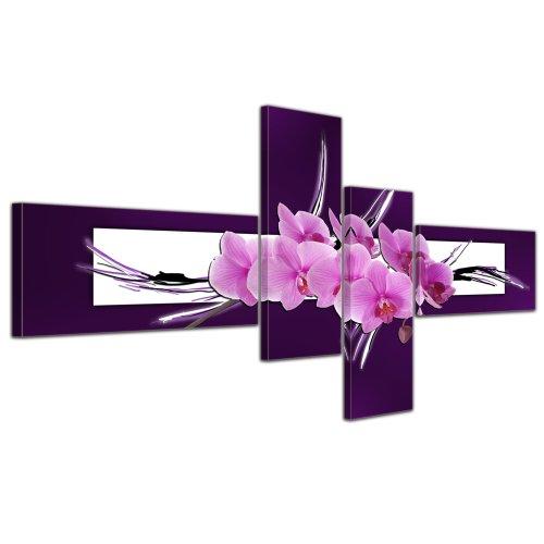 Kunstdruck - Abstrakte Kunst Orchidee - rosa - Bild auf Leinwand - 200x90cm - 4teilig - Kunstdruck - eigene Herstellung