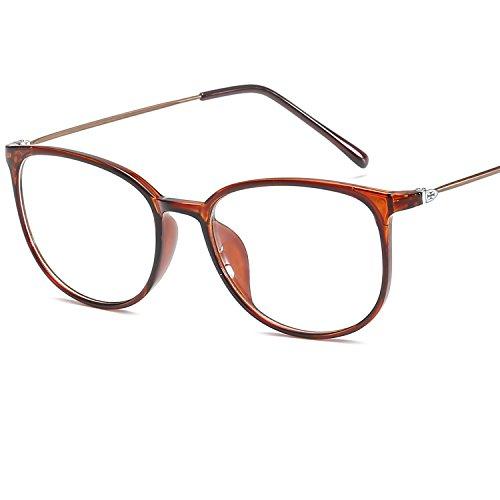 LANOMI Retro Nerdbrille Runde Brille Brillen Metallbügel Hornbrille Damen Herren Brillenetui (Braun)