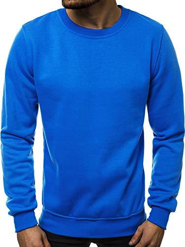 OZONEE Herren Sport Fitness Training Crewneck Täglichen Modern Sweatshirt Langarmshirt Pullover Warm Basic J. Style 2001-10 XL BLAU (Sweatshirt Herren Blau)