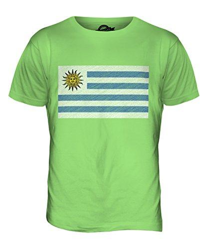 CandyMix Uruguay Kritzelte Flagge Herren T Shirt Limettengrün