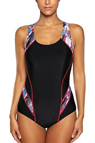 CharmLeaks Damen Einteiler Figuroptimizer Racerback Sport Badeanzug Elegance Schwarz L