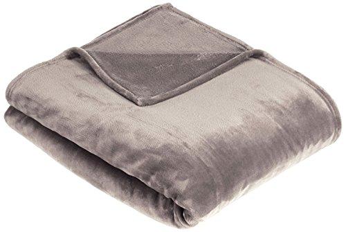 AmazonBasics - Manta suave con tacto de terciopelo, Manta,  gris