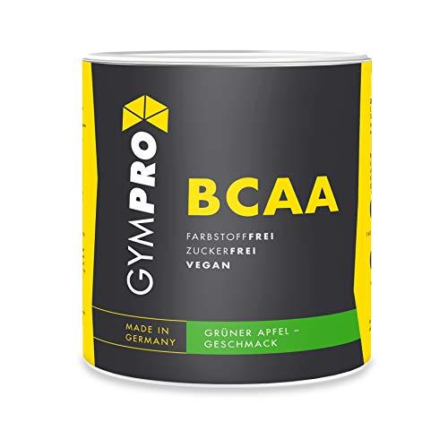 GymPro BCAA Pulver (Aminosäuren), Aminos 2:1:1, vegan, instantisiert - (Grüner Apfel, 500g)