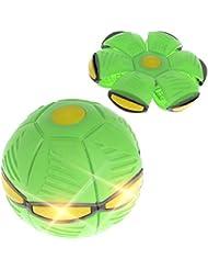 Sisit - Gioco di palla e pallone Phlat Classic Frisbee si trasforma in una palla. Pallone da calcio trasformabile con 3 luci LED., unisex, verde, diamètre 15cm