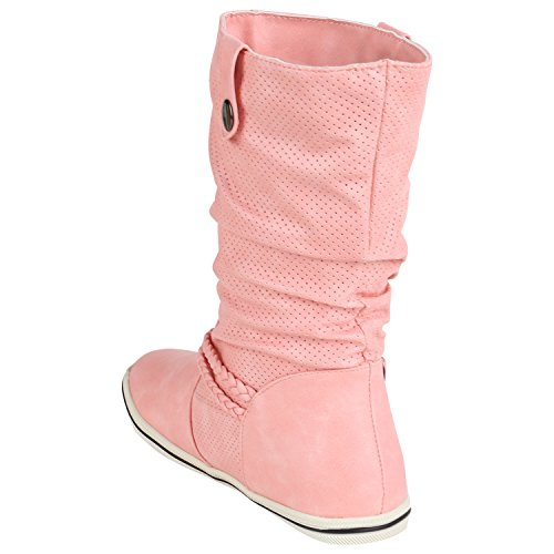 Stivali Paradise Foderato Da Donna Slip-on Boots Intagliati Fibbie Stivali Flandell Rosa Autol