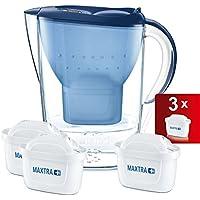 Brita Marella Jarra de Agua Filtrada con 3 Cartuchos Maxtra +, Filtro de Agua Brita que Reduce la Cal y El Cloro, Agua Filtrada para un Sabor Excelente, Color Azul