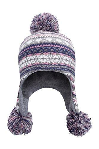 mountain-warehouse-bonnet-fille-hiver-peruvien-pompom-cache-oreilles-polaire-rose-clair-taille-uniqu