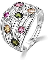 colorfey 925plata de ley oro blanco galvanizado moda Gemstone Rings hecho a mano con piedra turmalina regalo perfecto de calidad de lujo para las mujeres