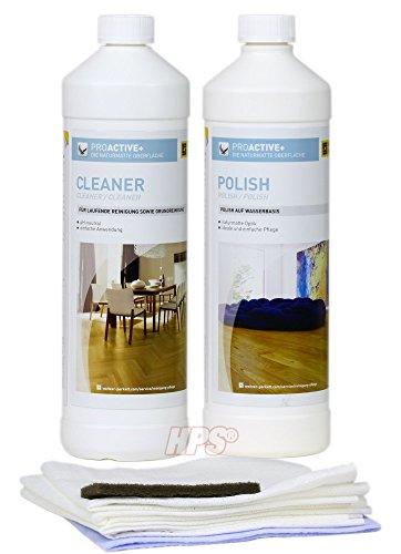 HPS® Pflegeset - Weitzer Parkett Pflegeset. ProActive Polish, ProActive Cleaner inklusive Polish Applikatorvlies. Reinigung und Pflegeprodukte für Parkett