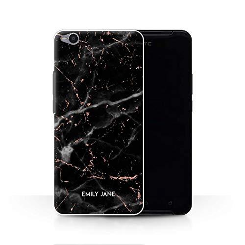 Personalisiert Individuell Roségold Glitter Marmor Hülle für HTC One X9 / Schwarzer Marmor Glitter Stempel Design/Initiale/Name/Text Schutzhülle/Case/Etui
