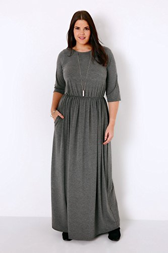 Yoursclothing Plus Size Womens Charcoal Jersey Maxi Dress With Ruched Waist
